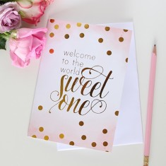 Welcome to the world watercolour and gold foil card (various colours)