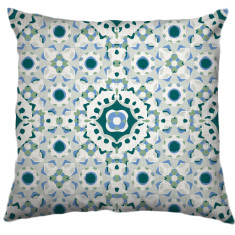African Daisy Tribal Cushion Cover in Teal