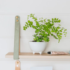 Sage Suede Leather Strap Shelf In Nordic