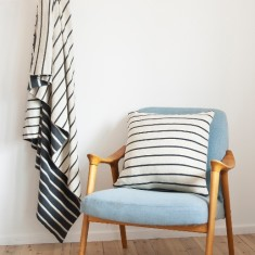Striped Throw Blanket (Grey/White or Navy/White)