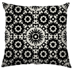 African Daisy Tribal Cushion Cover in Black