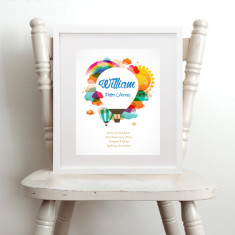 Personalised colourful hot air balloon birth art print