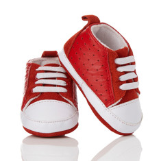 Baby soft soled unisex trainers in red