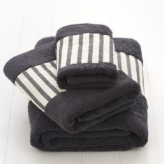 Bath towel set - black & white stripe