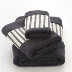 Bath towel set - black & white stripe