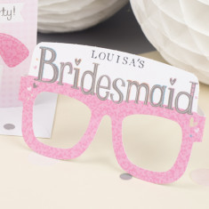 Personalised bridesmaid hen party card glasses