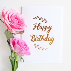 Happy birthday branches gold foil card