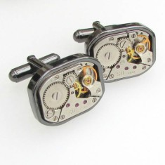 Vintage Rounded Square Gunmetal Watch Cufflinks