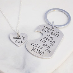 Nana's girl necklace and key ring gift set