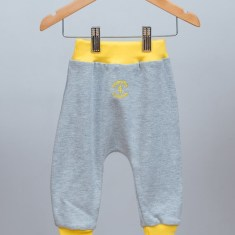 Babies cotton grey pants with yellow rib