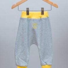 Baby & toddler rib harem pants in grey with yellow rib