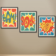 Superhero pop art action prints (set of 3)