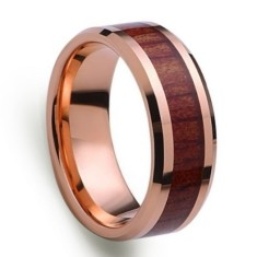 Custom & Personlaised Rose Gold and Tungsten Wood Inlay Ring