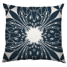 Deco Bloom Large Cushion Cover in Navy