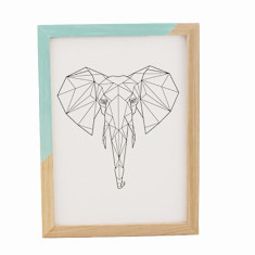 Geometric elephant framed print