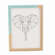 Geometric elephant framed print