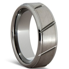 Jagged brushed tungsten ring