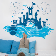 The fortress large blue wall sticker