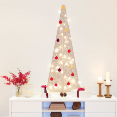 Skandi Christmas tree wall decal with decorations and lights