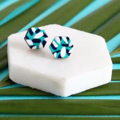 Tropics hexagon earrings in aqua, navy and white