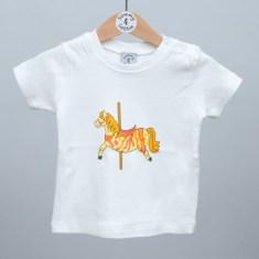Babies short sleeve t shirt carousel horse