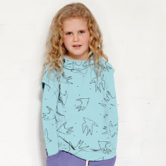 Hide and seek short-sleeve hoodie in aquamarine