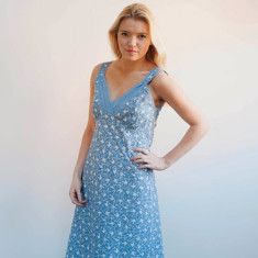 Very lacey nightie in French blue swallows print