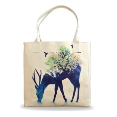 Watering Deer Vegan Leather Tote Beach Bag