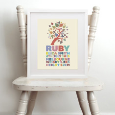 Personalised whimsical tree name & birth art print