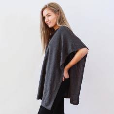 Cashmere Side Neck Poncho In Charcoal