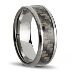 Carbon fibre charcoal weave ring