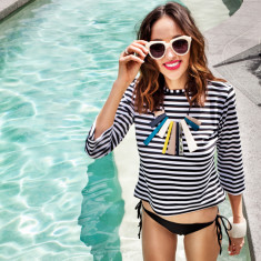 Sail away UPF50+ top in black & white stripe