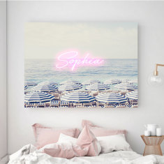 Aerial beach print with neon typography