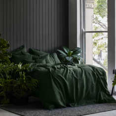 Pure linen quilt cover set in Forest green