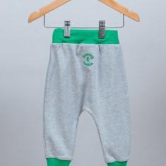 Baby & toddler rib harem pants in grey with green rib