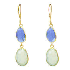 Pebble Double Stone Drops With Tanzanite And Prehnite
