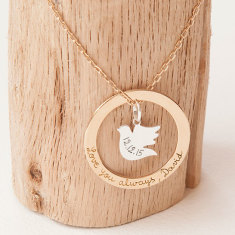 Personalised eternity dove necklace