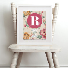 Personalised vintage floral baby name & birth art print