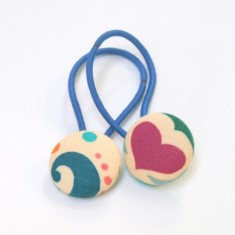 Hearts and swirls fabric hair band (set of two)