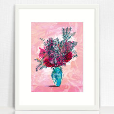 A Pot of Proteas Archival Art Print