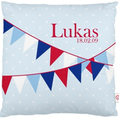Boys' personalised bunting cushion cover (various designs)