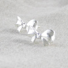 Bow sterling silver ear stud earrings