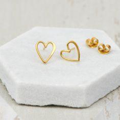 Gold Love Heart Earrings