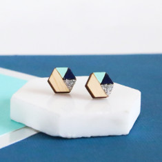 Hexagon geometric earrings in navy, silver glitter & mint