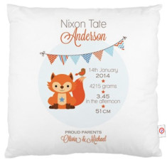 Boys' personalised bunting birth cushion covers (various designs)