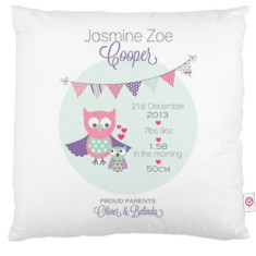 Girls' personalised bunting birth cushion covers (various designs)