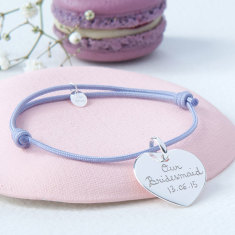 Personalised bridesmaid heart bracelet