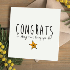 Congratulations for that thing card