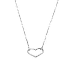 Open heart necklace in sterling silver