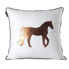 Gold horse equestrian cushion cover